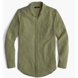 J.Crew 100% Silk Button Up Shirt Size 00 NWT